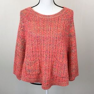 Anthropologie Moth Bright Coral Cropped Sweater